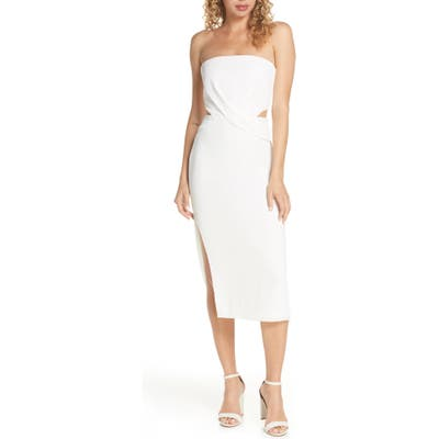 Finders Keepers Elena Strapless Plisse Dress, Ivory