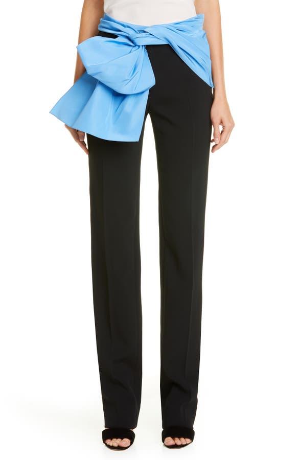 Carolina Herrera Pants TIE BELT STRAIGHT LEG PANTS