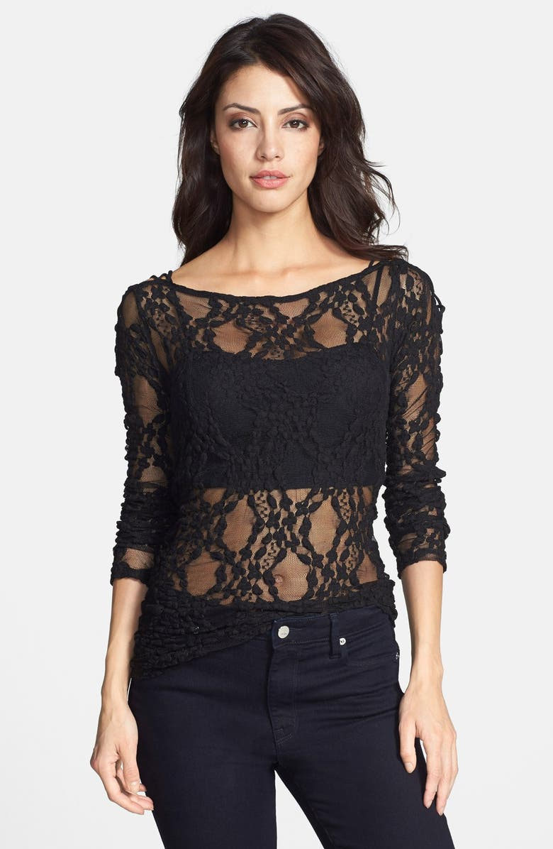 3a03df27b74f0 'Star Lace Crisscross' Sheer Layering Top