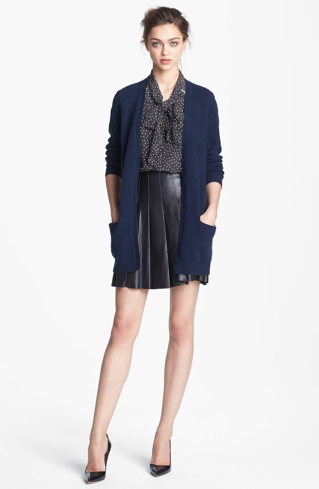 ,                             Pleated Leather Skirt,                             Alternate thumbnail 3, color,                             001