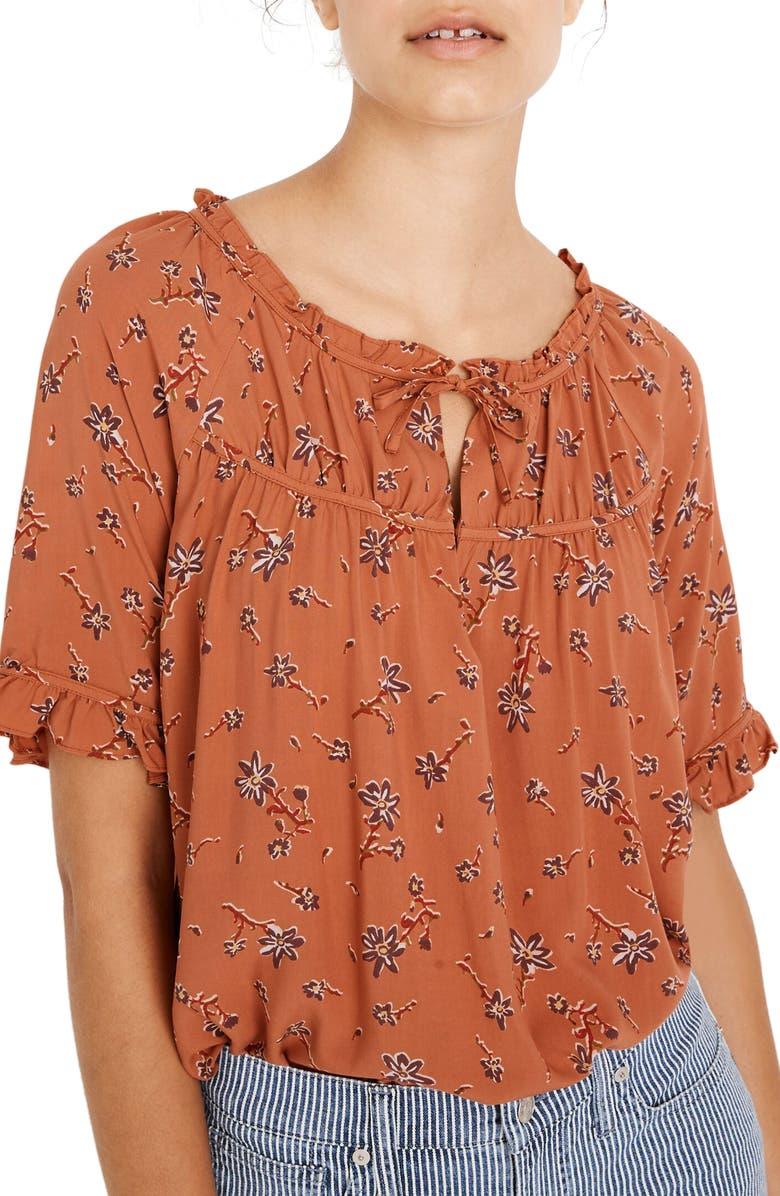 MADEWELL Tie-Neck Peasant Top in Ginger Floral, Main, color, RASHNA FLORAL SWEET DAHLIA