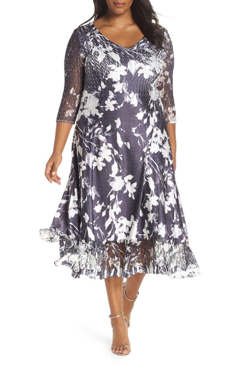 Sheer Sleeve Floral Print Charmeuse A-Line Dress