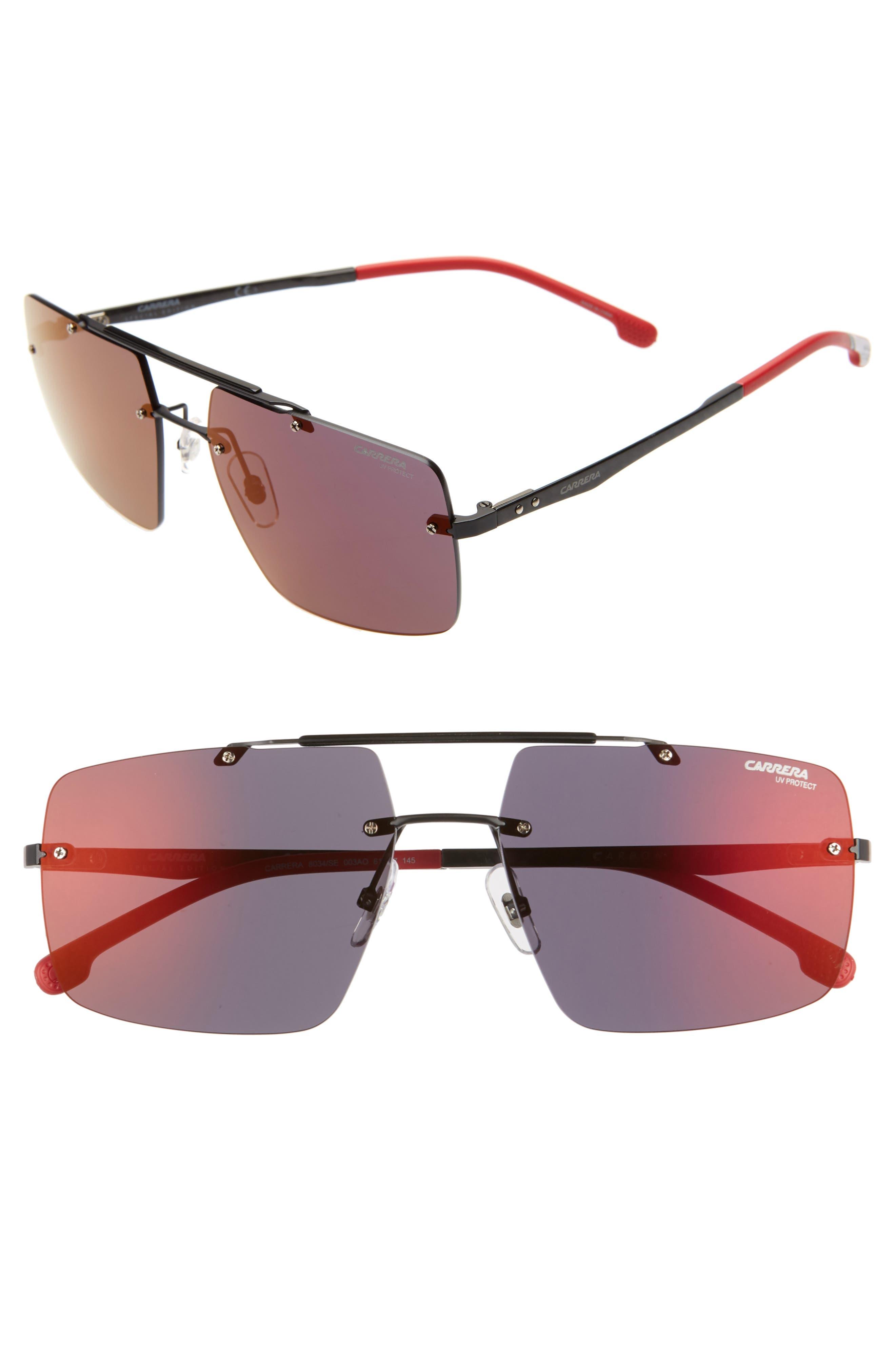 55mm Polarized Tinted Rimless Navigator Sunglasses