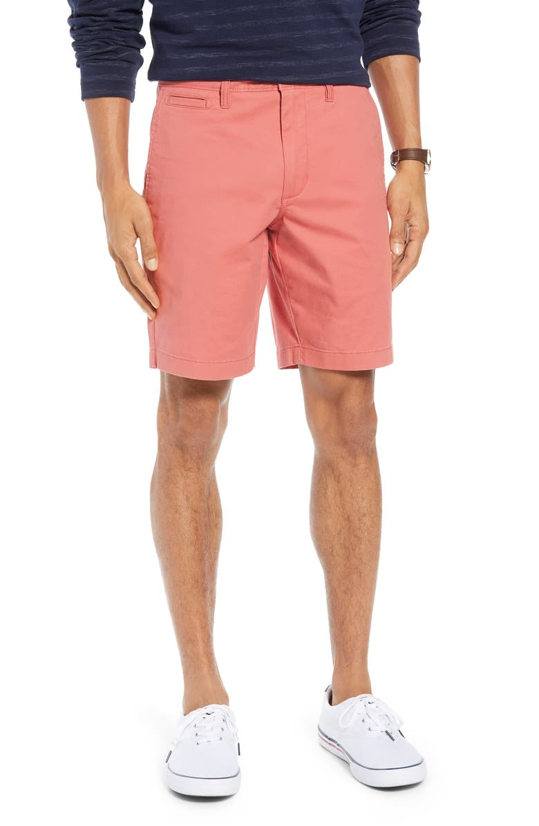 1901 Ballard Slim Fit Stretch Chino 9-Inch Shorts, Main, color, CORAL FADED