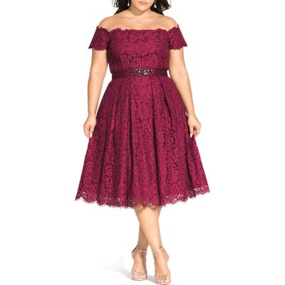 Plus Size City Chic Off The Shoulder Lace Dreams Dress
