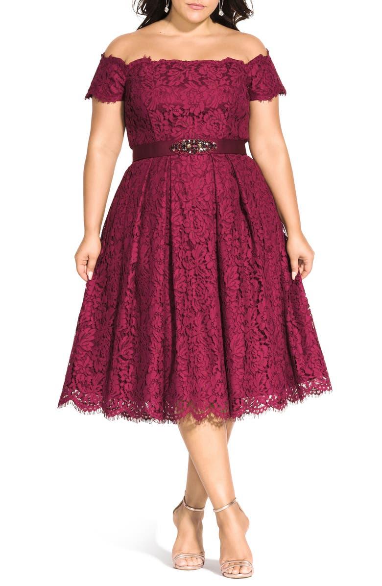 CITY CHIC Off the Shoulder Lace Dreams Dress, Main, color, RUBY