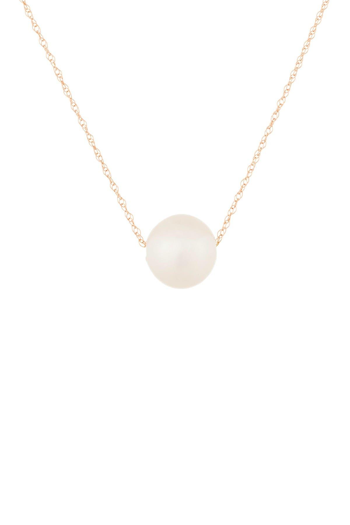 Image of Splendid Pearls 14K Rose Gold 8-9mm Akoya Pearl Pendant Necklace
