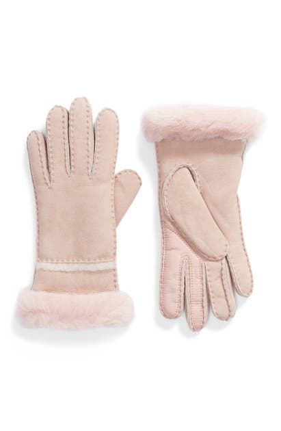 Ugg Stitched Slim Tech Gloves In Pink Crystal