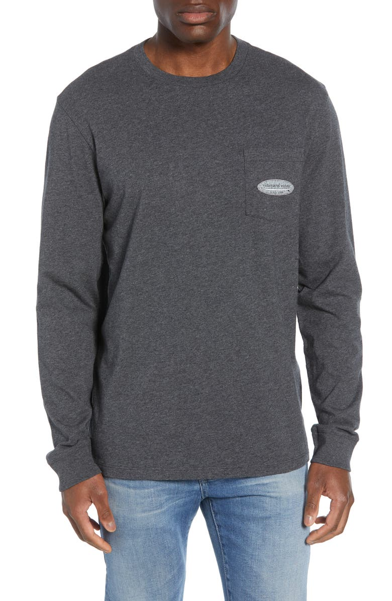 VINEYARD VINES Surf Logo Long Sleeve Pocket T-Shirt, Main, color, CHARCOAL HEATHER
