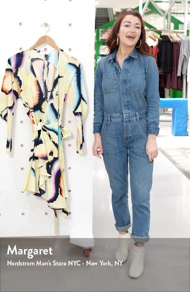 Enzo Long Sleeve Stretch Silk Wrap Dress, sales video thumbnail