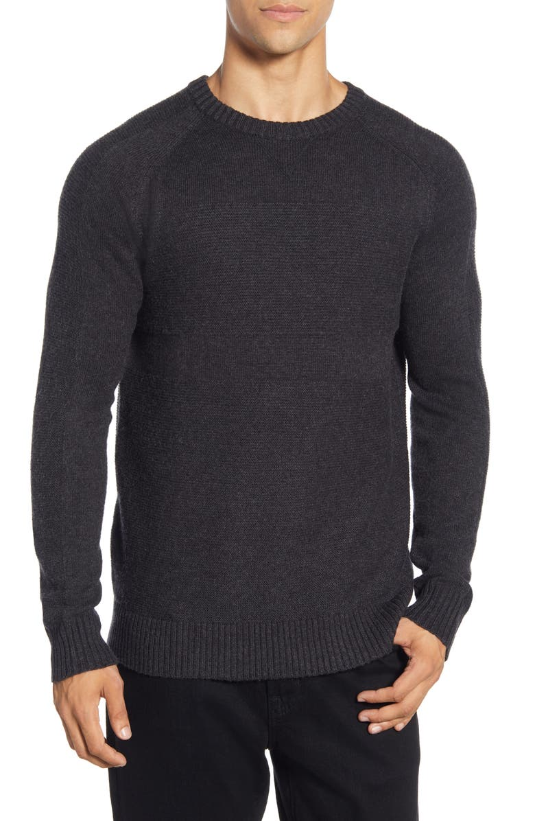 SMARTWOOL Ripple Ridge Crewneck Sweater, Main, color, CHARCOAL HEATHER