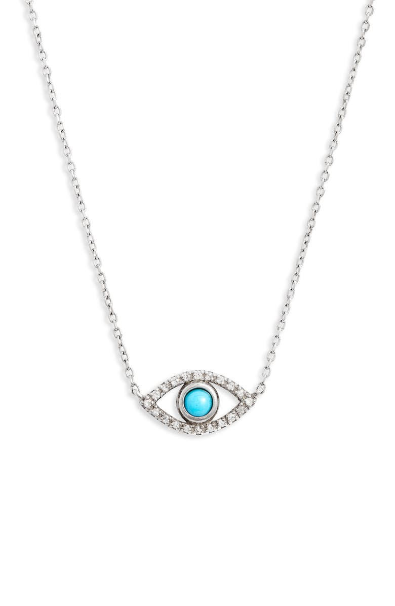 ANZIE Evil Eye Turquoise Pendant, Main, color, SILVER