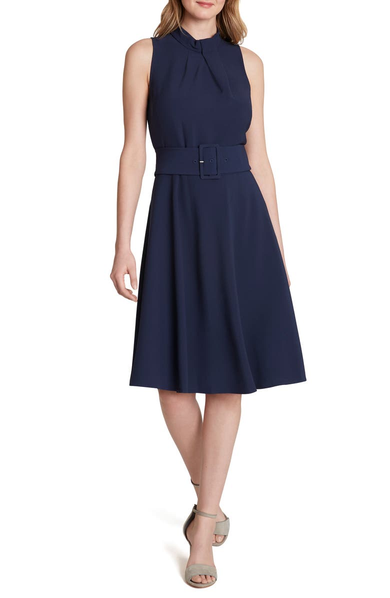 TAHARI Sleeveless Belted Scuba Crepe Fit & Flare Dress, Main, color, NAVY