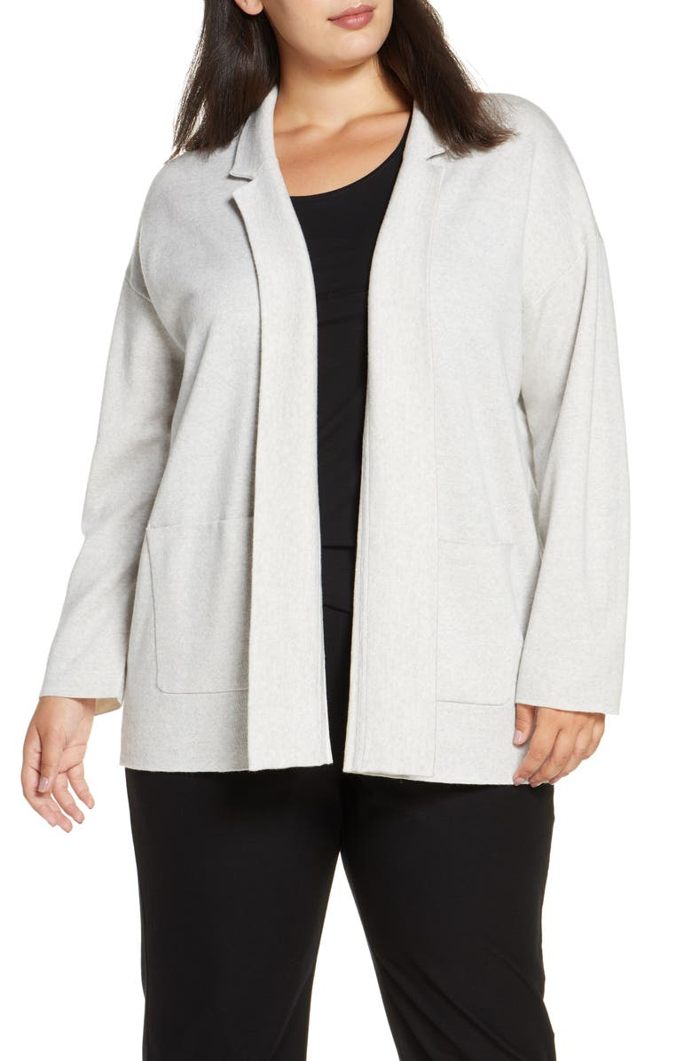 EILEEN FISHER Notch Collar Cardigan, Main, color, PEARL