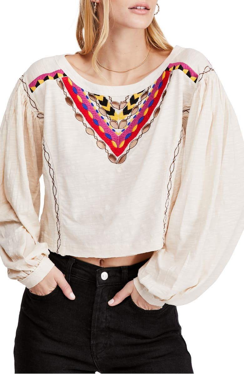 FREE PEOPLE Hand Me Down Top, Main, color, IVORY COMBO