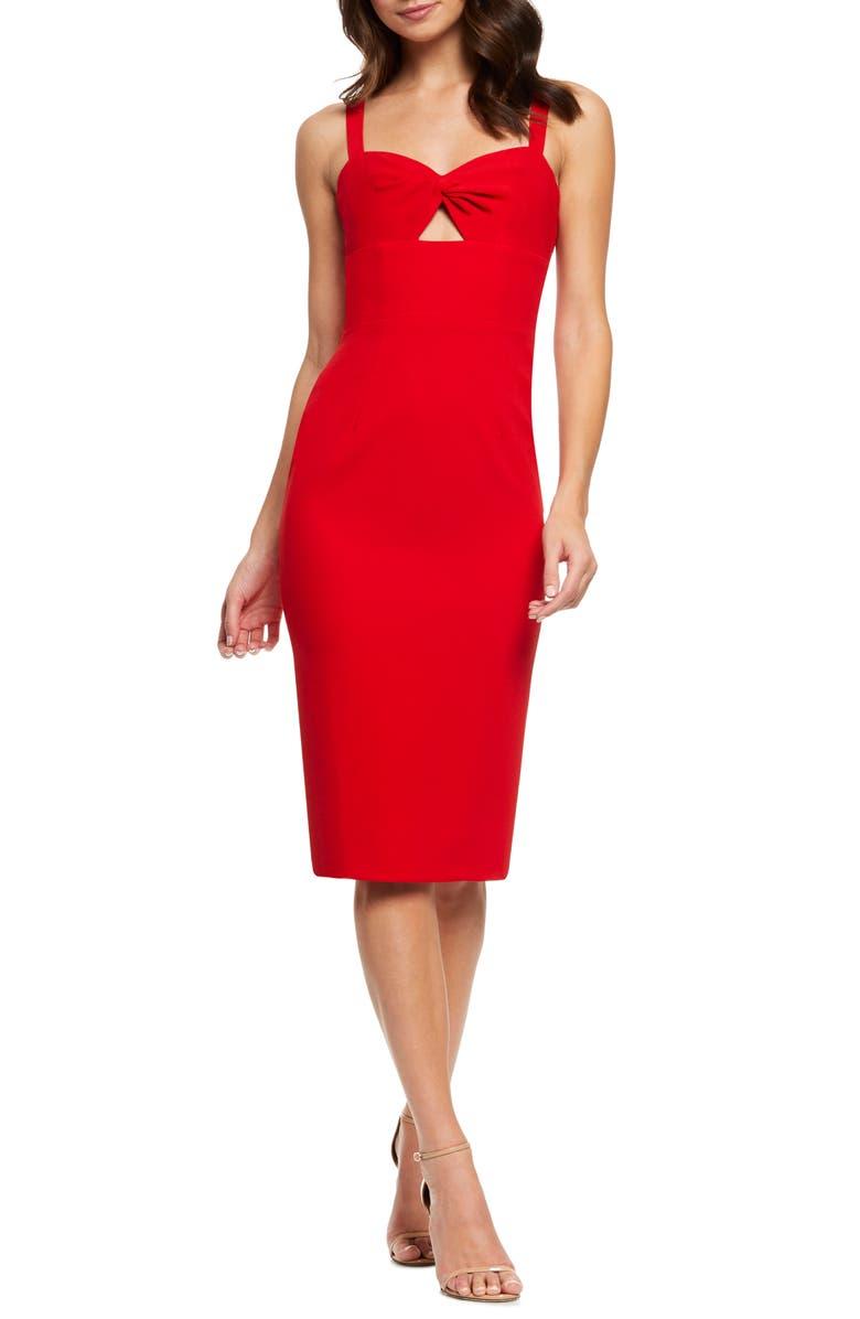 DRESS THE POPULATION Eve Sweetheart Twist Front Sleeveless Midi Sheath Dress, Main, color, ROUGE