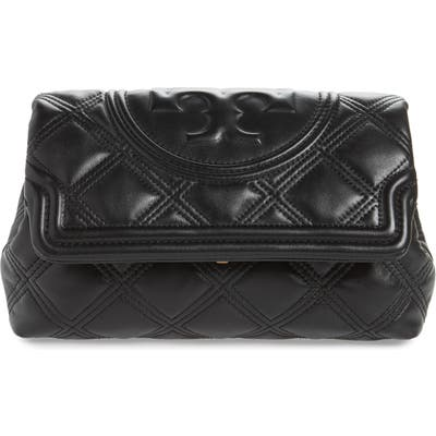 Tory Burch Fleming Soft Quilted Leather Clutch - Black