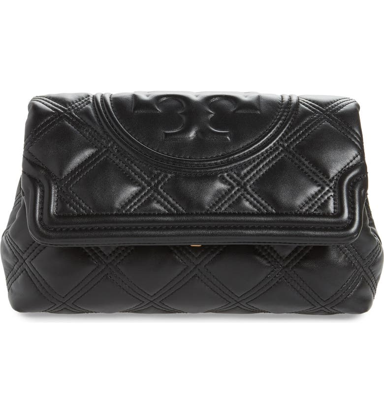TORY BURCH Fleming Soft Quilted Leather Clutch, Main, color, 001
