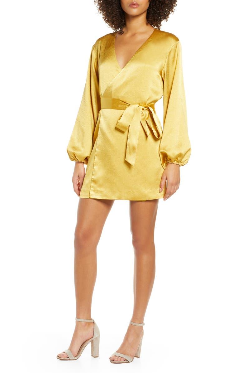 BELLEVUE THE LABEL Sinclair Textured Satin Wrap Dress, Main, color, MARIGOLD
