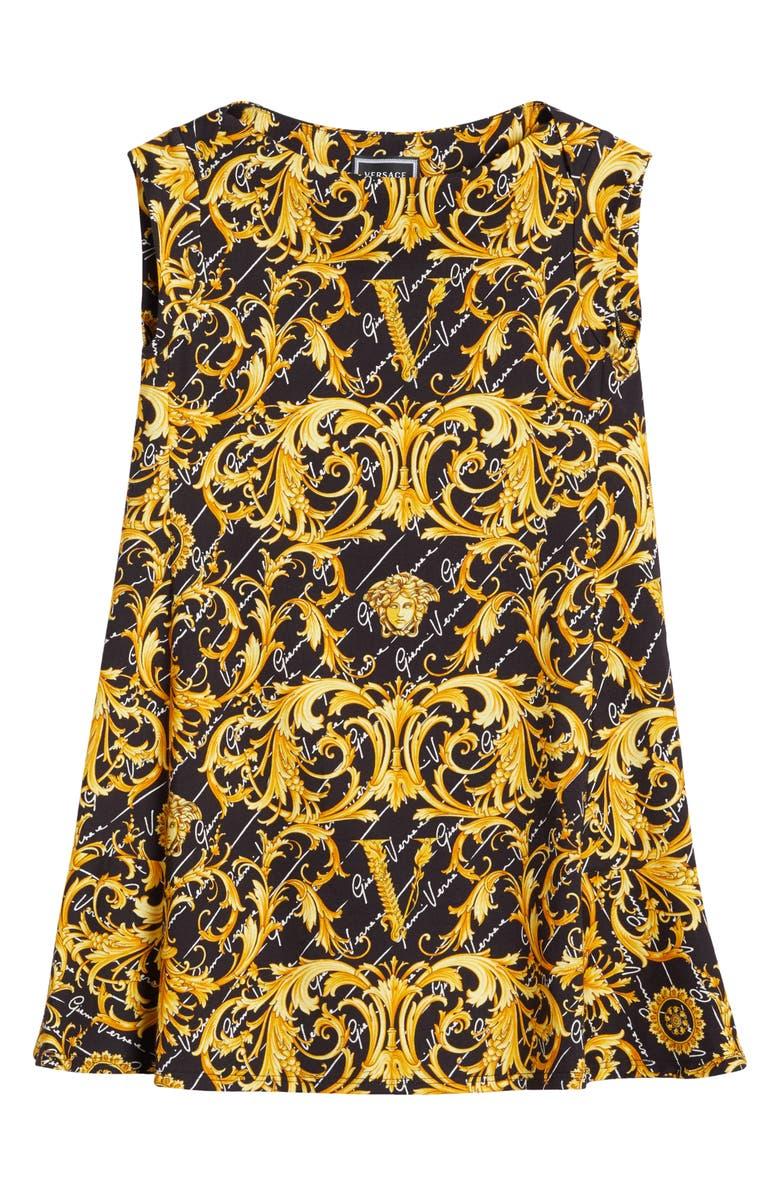 VERSACE Print Dress, Main, color, 001
