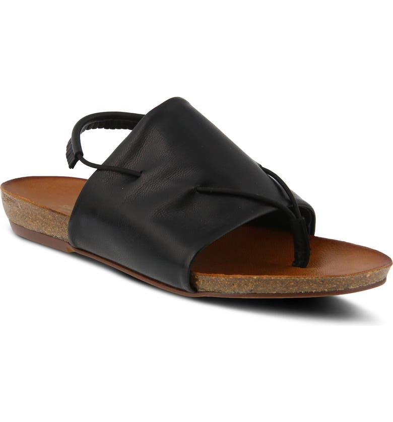 SPRING STEP Madagascar Slingback Sandal, Main, color, BLACK LEATHER
