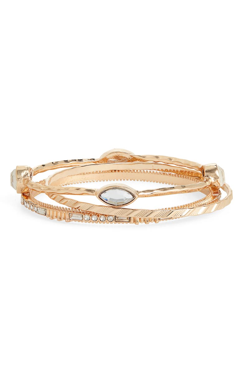 BP. Set of 3 Textured Bangles, Main, color, CLEAR- GOLD