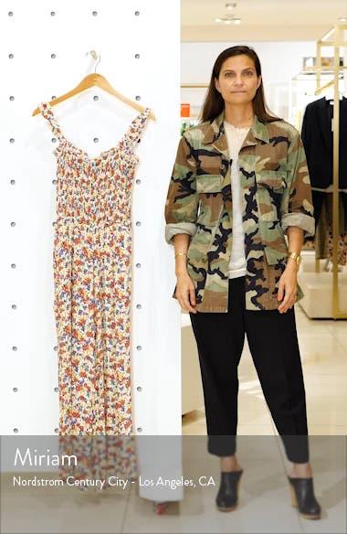 Bernard Floral Smocked Crop Jumpsuit, sales video thumbnail