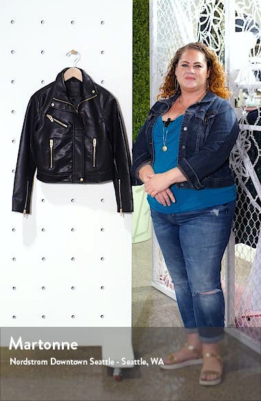The Essentials Faux Leather Moto Jacket, sales video thumbnail