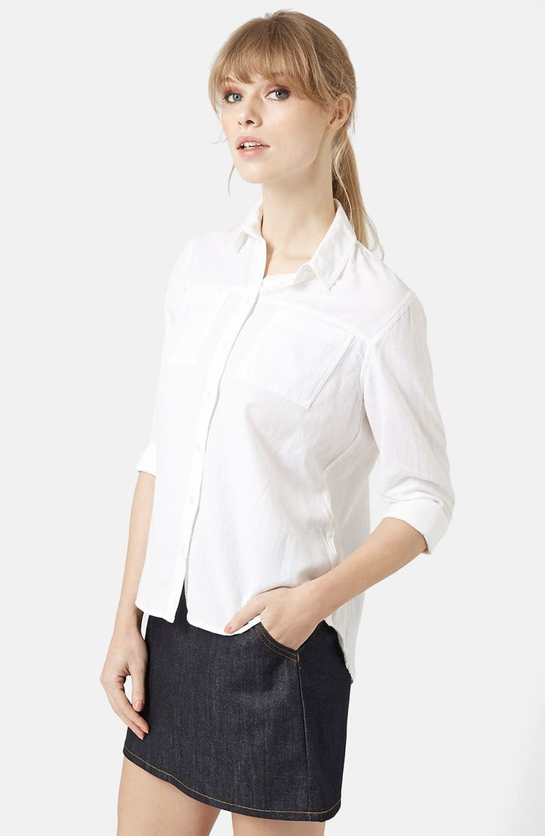 TOPSHOP Button Front Chambray Shirt, Main, color, 100