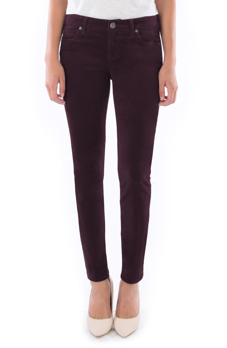 KUT FROM THE KLOTH Diana Stretch Corduroy Skinny Pants, Main, color, WINE
