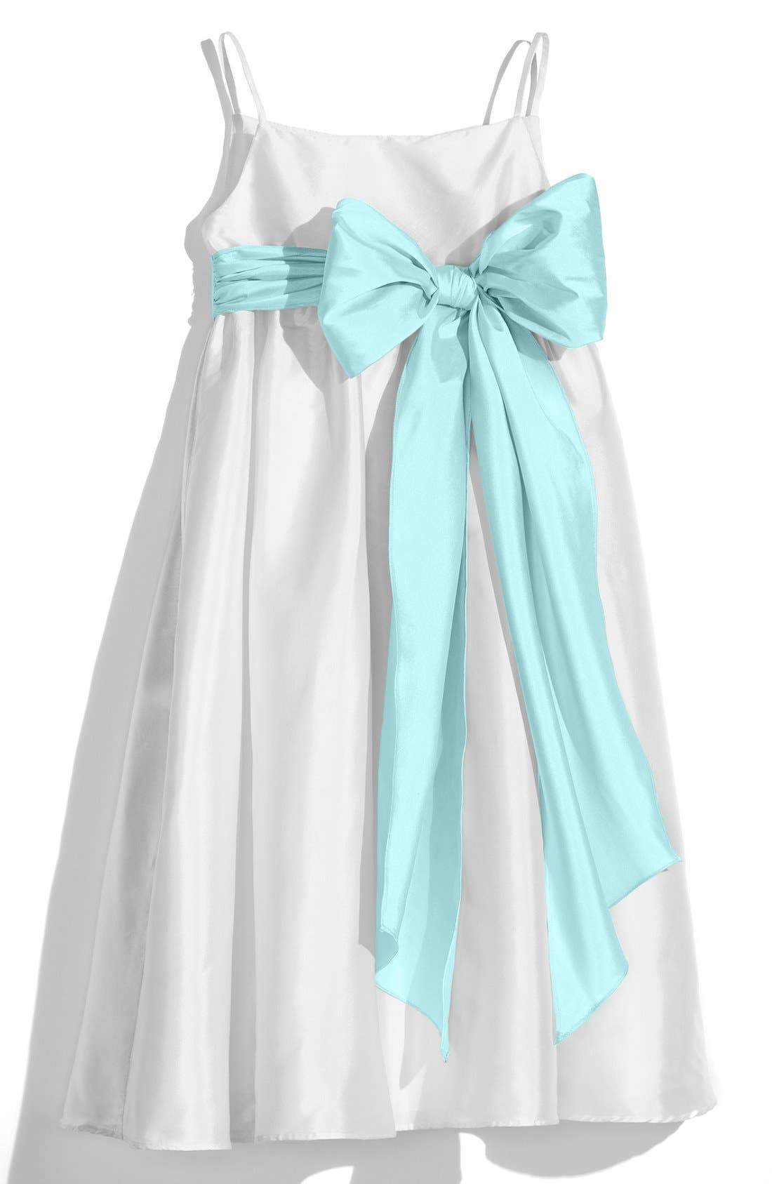 ,                             White Sleeveless Empire Waist Taffeta Dress,                             Main thumbnail 10, color,                             442