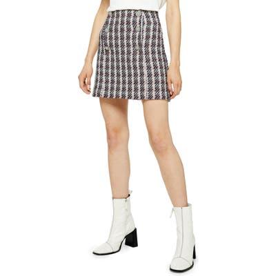 Topshop Metallic Thread Plaid Boucle Miniskirt, US (fits like 14) - Pink