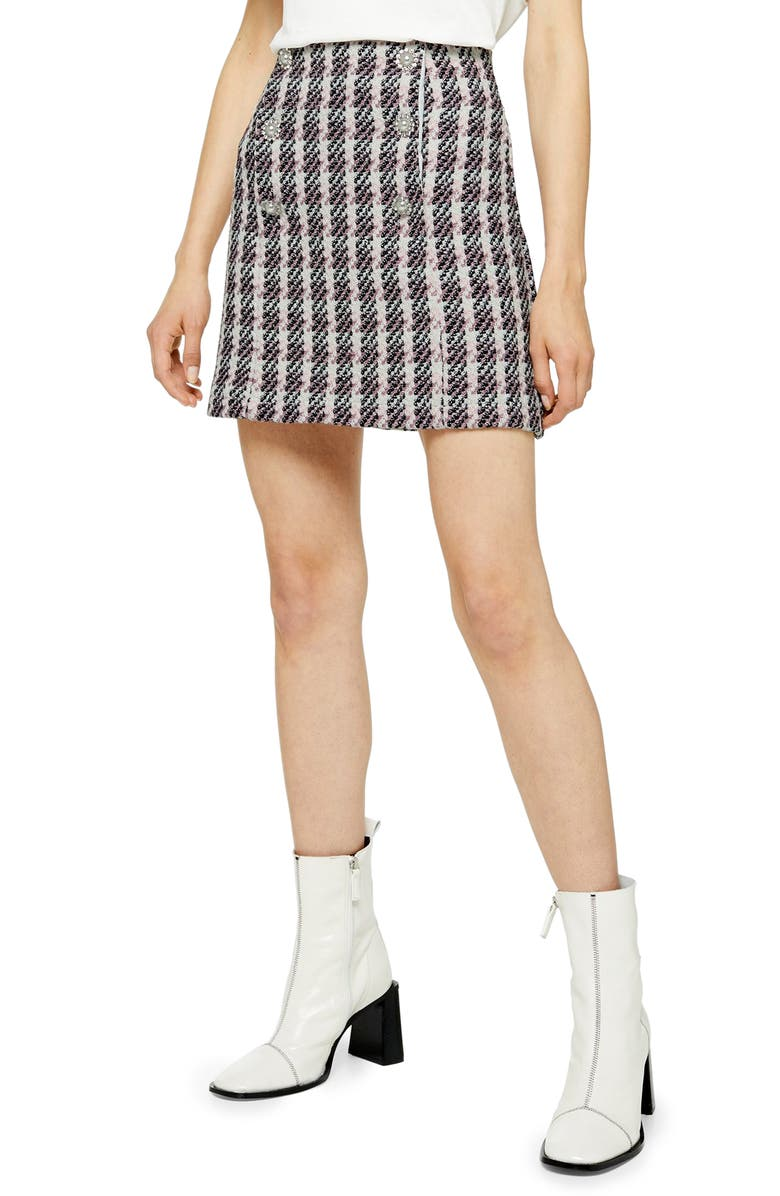 TOPSHOP Metallic Thread Plaid Bouclé Miniskirt, Main, color, 650