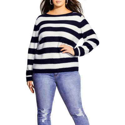 Plus Size City Chic Nautical Stripe Sweater, Blue
