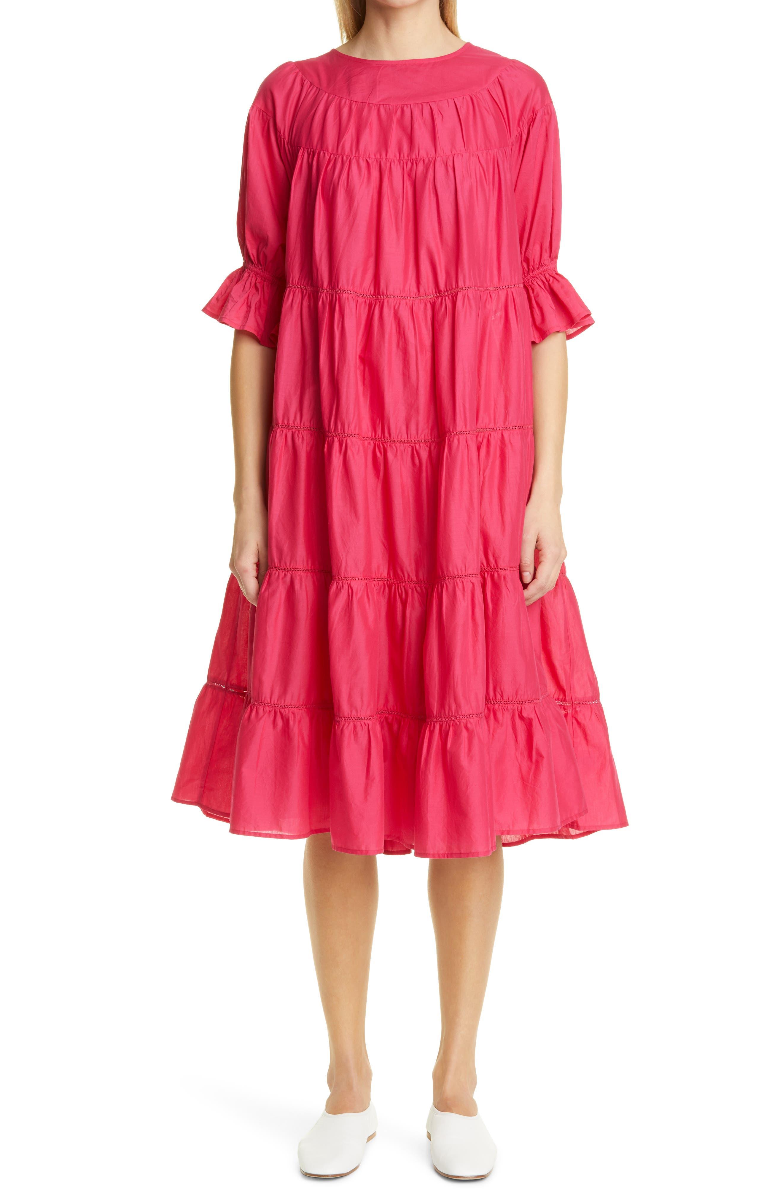 Paradis Tiered Puff Sleeve Cotton Dress