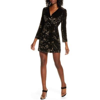 Ali & Jay Sky Full Of Stars Long Sleeve Wrap Velvet Minidress, Black