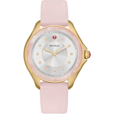 Michele Cape Topaz Dial Silicone Strap Watch,