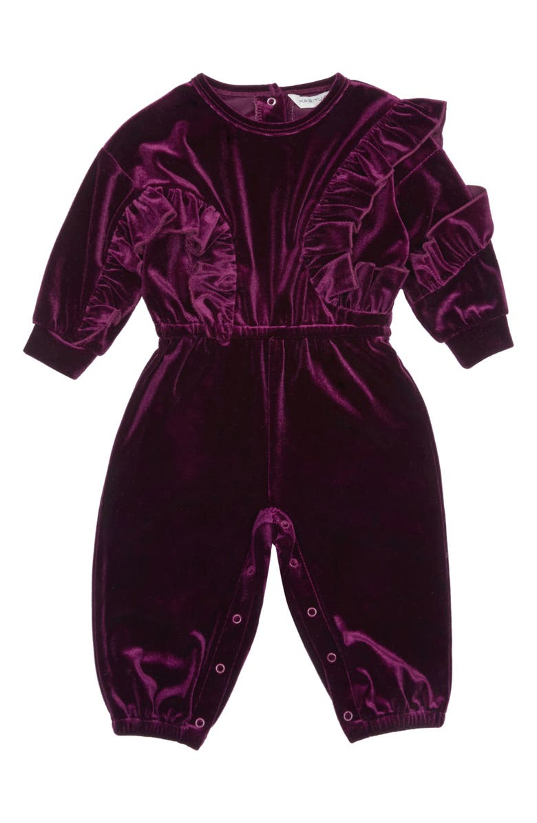 HABITUAL Carina Velour Ruffle Jumpsuit, Main, color, PURPLE