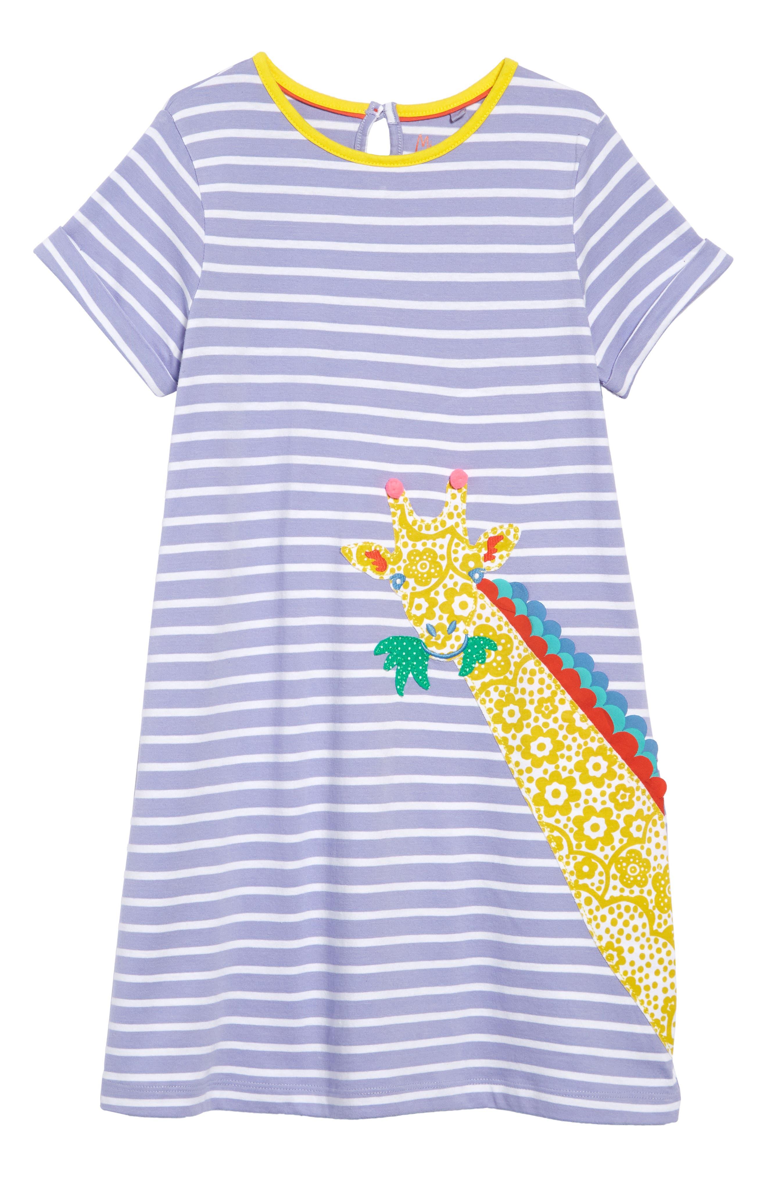 Safari Friend Appliqué Dress, Main, color, PARMA VIOLET STRIPE/ GIRAFFE