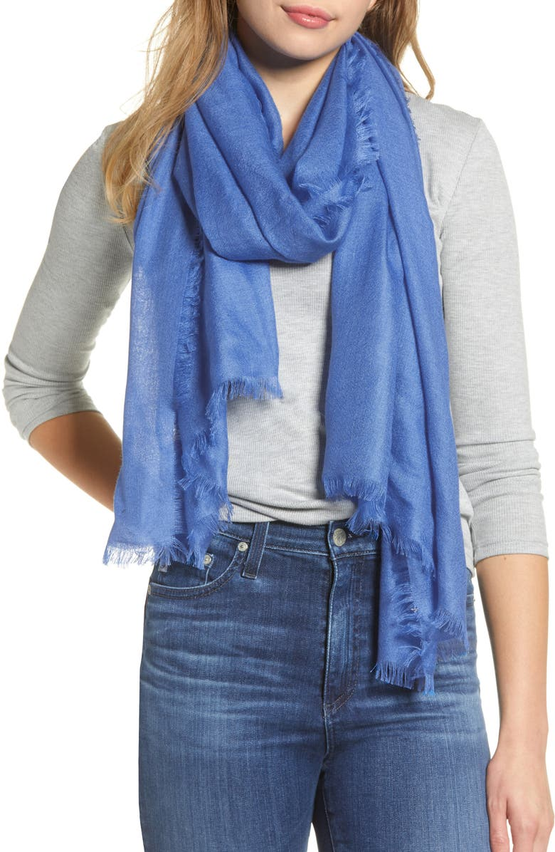 NORDSTROM Cashmere & Silk Wrap, Main, color, BLUE CHINA