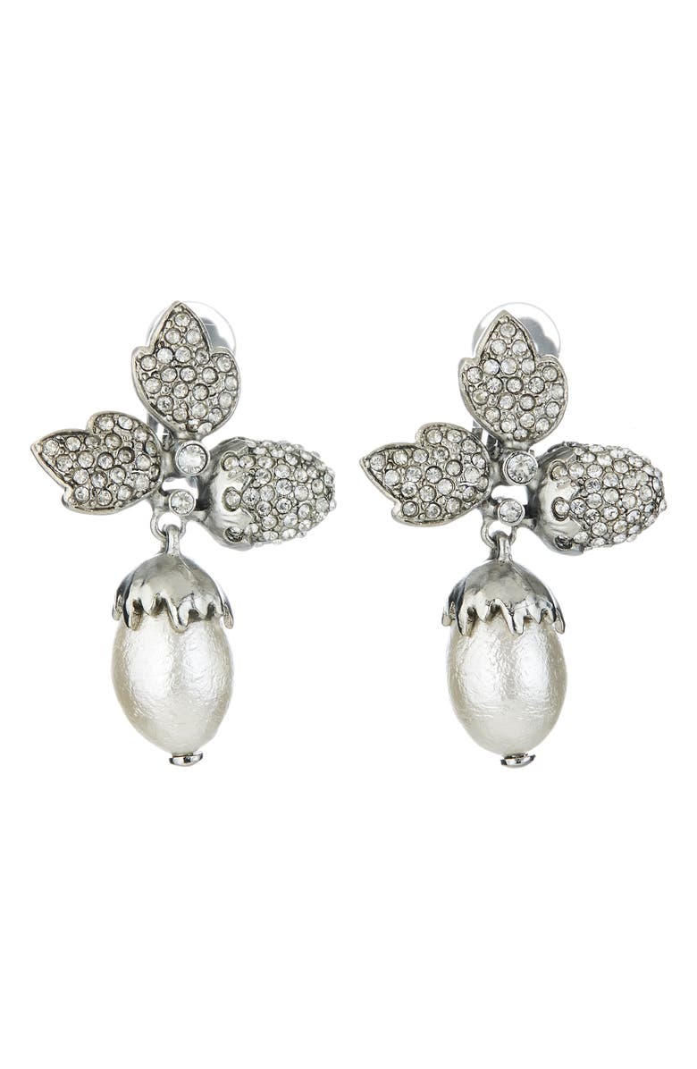 OSCAR DE LA RENTA Pavé Acorn Leaf Drop Clip Earrings, Main, color, SILVER