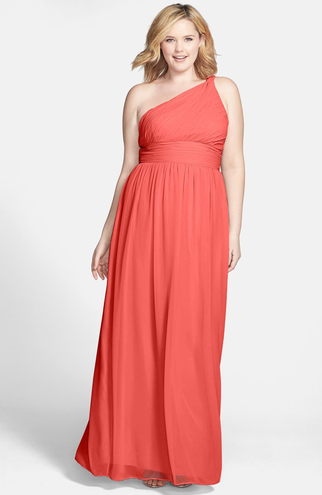 ,                             'Rachel' Ruched One-Shoulder Chiffon Gown,                             Alternate thumbnail 145, color,                             955