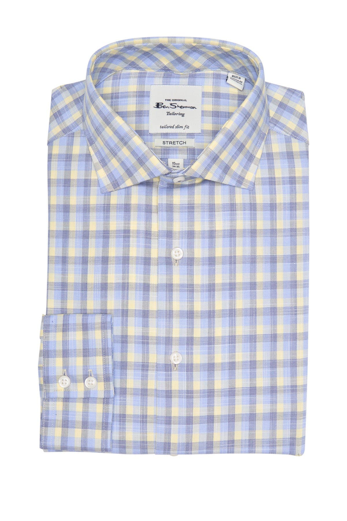 Ben Sherman Yellow & Blue Slub Check Slim Fit Dress Shirt
