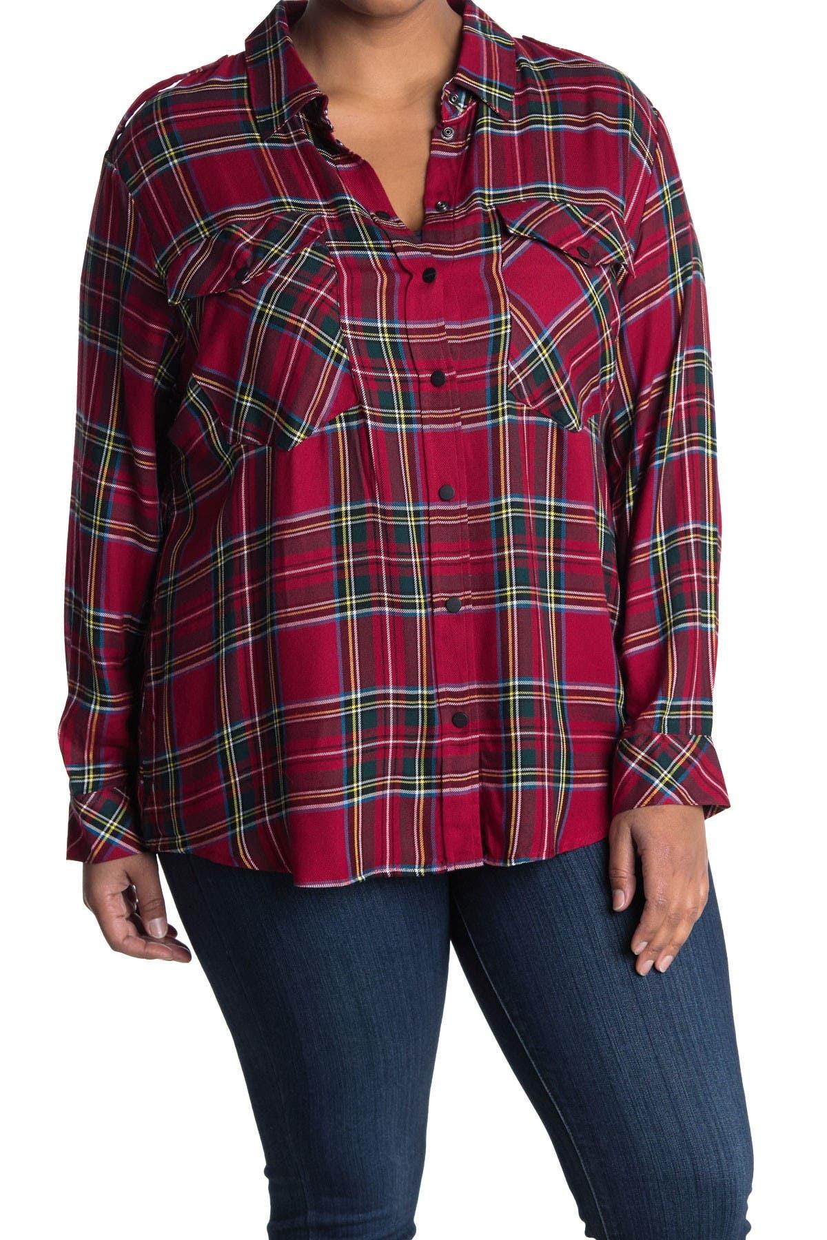 Image of Sanctuary Plaid Long Sleeve Boyfriend Shirt
