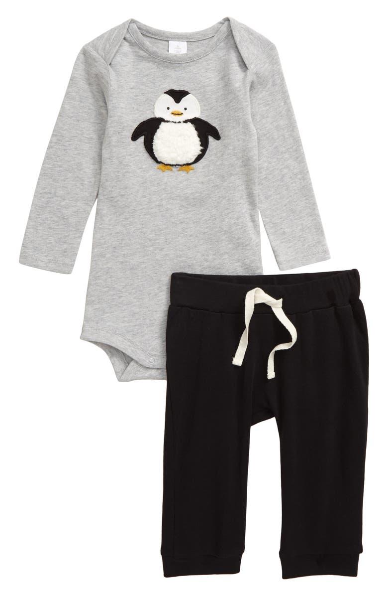 NORDSTROM Appliqué Penguin Bodysuit & Pants Set, Main, color, GREY ASH HEATHER PENGUIN