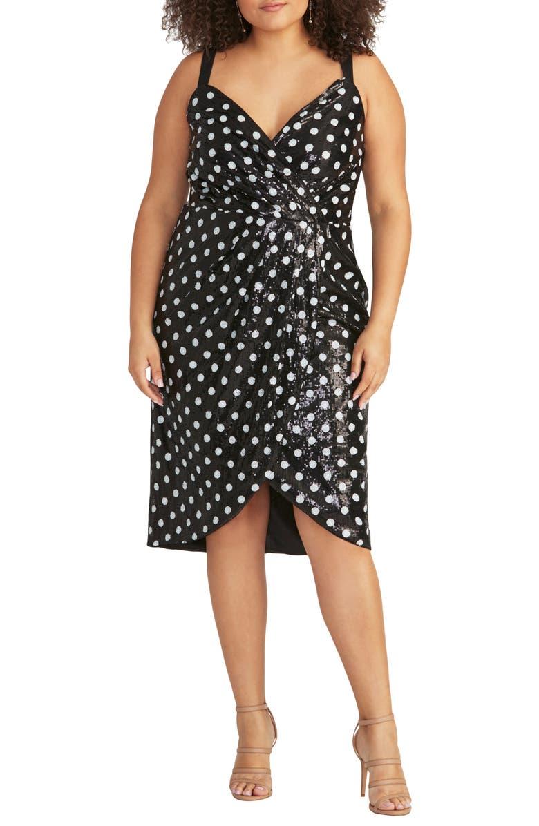RACHEL RACHEL ROY Dot Sequin Faux Wrap Dress, Main, color, 001