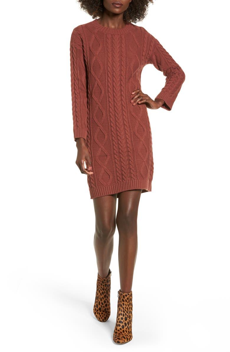 COTTON EMPORIUM Cable Knit Sweater Dress, Main, color, 650