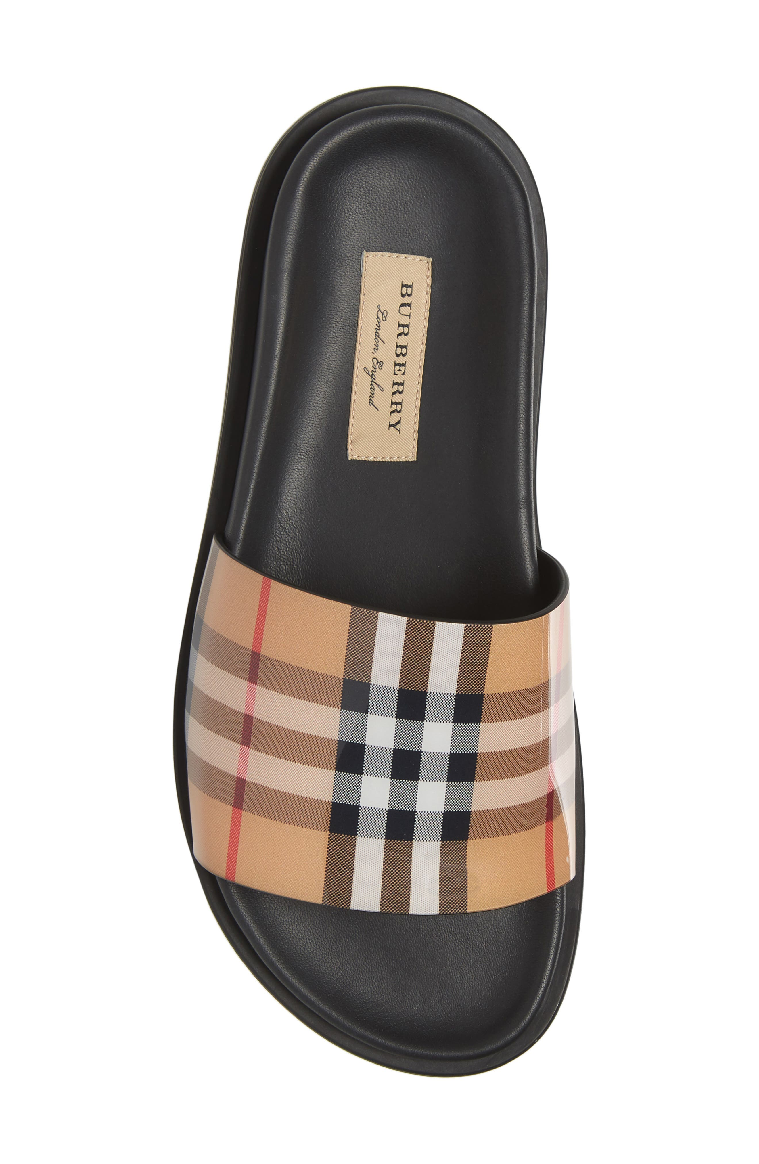 ,                             Vintage Check Slide Sandal,                             Alternate thumbnail 6, color,                             BEIGE PLAID
