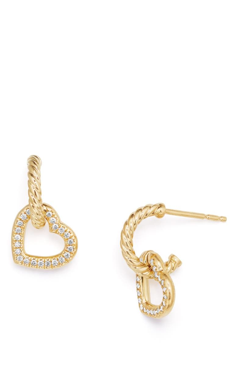 DAVID YURMAN Heart Drop Earrings with Diamonds in 18K Gold, Main, color, GOLD