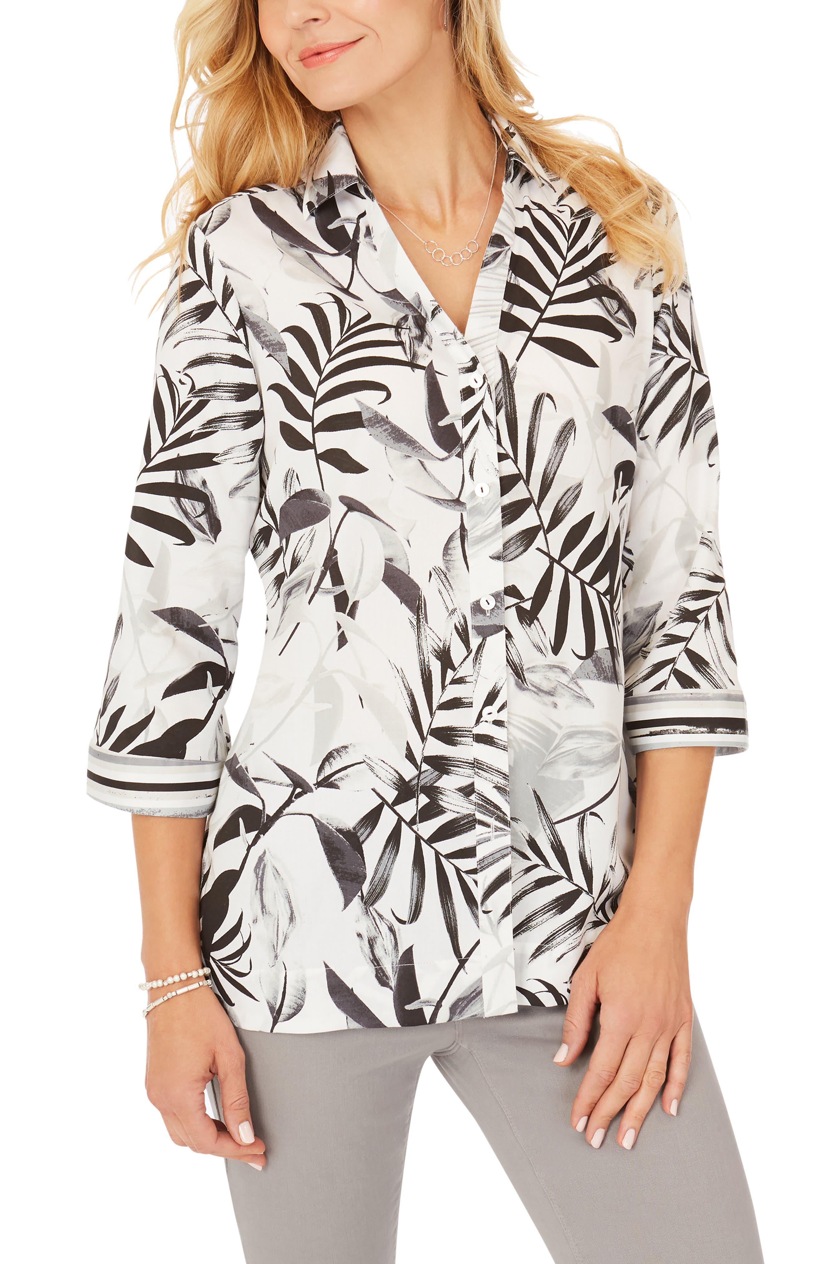 Liberty 34 Palms Wrinkle-Free Cotton Sateen Blouse